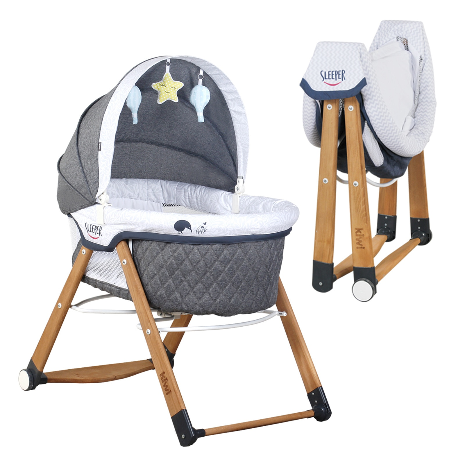 Natural Wooden Rocking Folding Crib Wooden Baby Crib Child Bed Quilt Pillow Mosquito Net Cradle Rocking Chair Swing