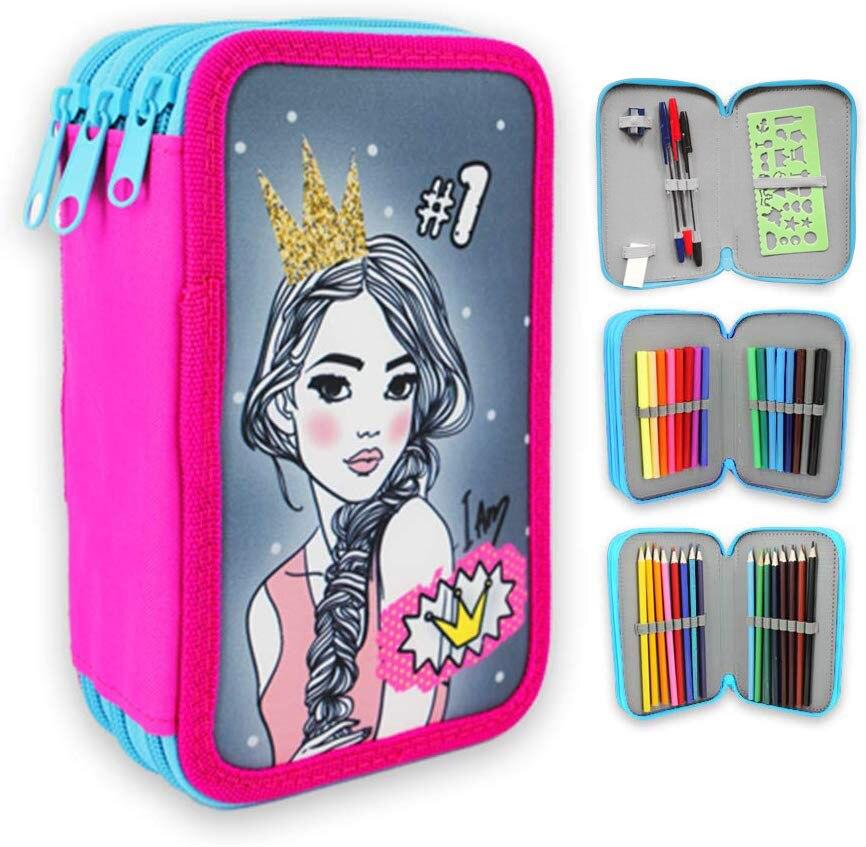 Starplast, caixa de escola plumier, 3 compartimentos, 16 lápis de cores, 16 marcadores de cores, regra, afiação de lápis, goma de borracha