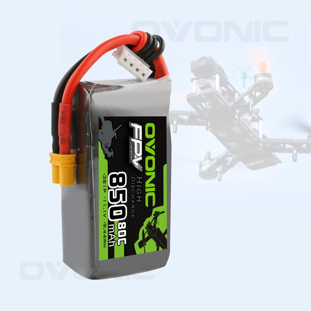 Bateria 850 v 80c do lipo da bateria 11.1v do rc do funfly mah 3s de ovonic com a bateria de xt30 tomada rc para a corrida do zangão de fpv