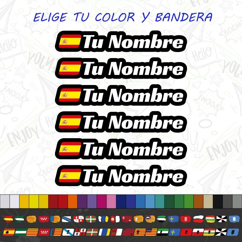 6x BANDERA + NOMBRE PEGATINA VINILO CASCO BTT BICICLETA PERSONALIZADO CARRERA STICKER CALCOMANÍAS