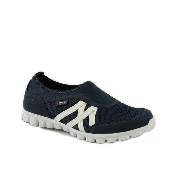 Forelli Women Sports Shoes Navy Blue Textile 60003 Türkiye'de Manufactured Sneaker Slipper Sandal Anatomical Shoes Expert