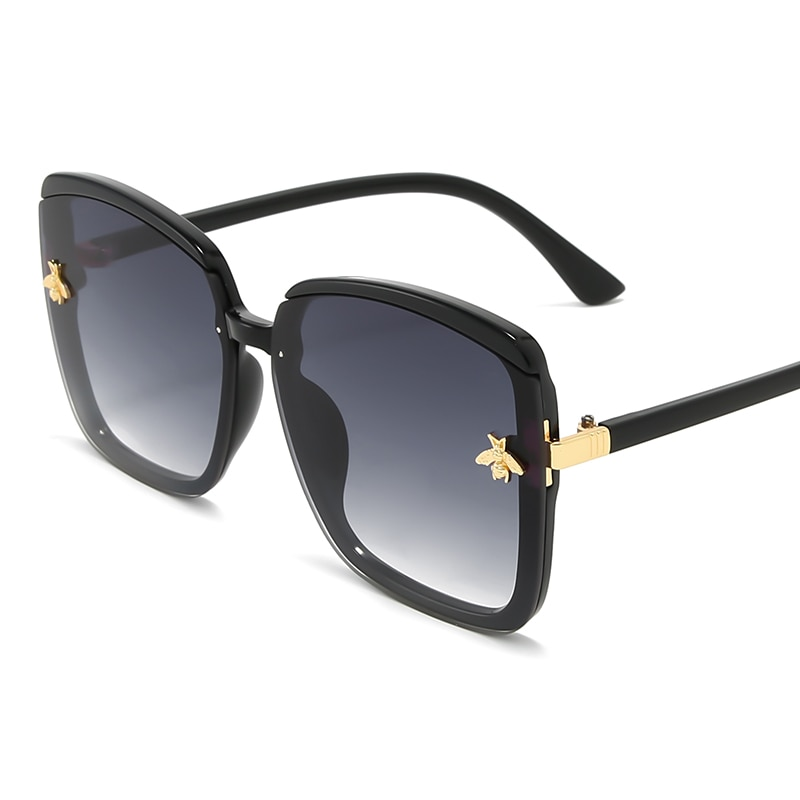 ALIKIAI Square Luxury Sunglasses Goggle UV400 Women Ladies Trend Bee Fashion Black Gray Red 2019 New Outdoor Eyeglasses