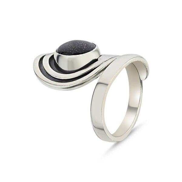 Prata 925 esterlina estrela azul zircônia cúbica mão trabalho ajustável anel alto