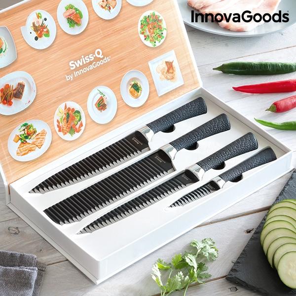 InnovaGoods Swiss · Q juego de cuchillos de tiburón negro Namiutsu (4 piezas)