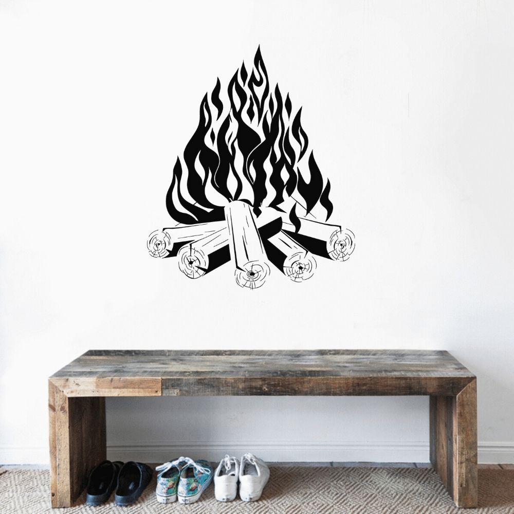 Cool Bon Fire adhesivo artístico de pared diseño de calcomanía estética pegatina casa Cama removible de decoración de habitación A002561