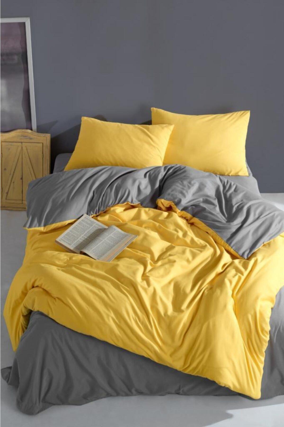 انسجام فريد من القطن الأصفر والرمادي جودة الراحة الصفاء النوم جيدا البياضات مجموعة المفرش تصميم أنيق