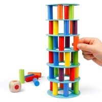 coogam wooden tower stacking game fine motor skill blocks with dice stacking building construction toys party games for kids