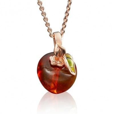 Manzana colgante de platino Yuz con oro rojo ámbar