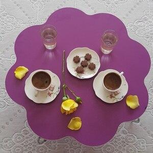 50-60cm round Turkish coffee table folding metal leg modern-traditional furniture floor table dining traditional livingroom wood
