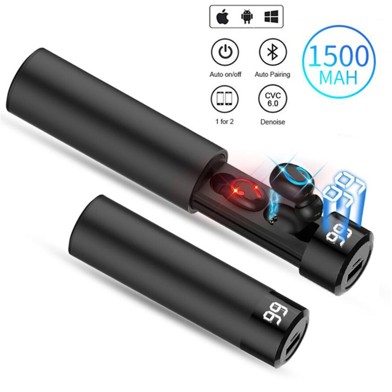 TWS Bluetooth 5.0 Earphones Charging Box Wireless Headphones Stereo Sports Waterproof Earhook Headsets With Mic For Smart phone