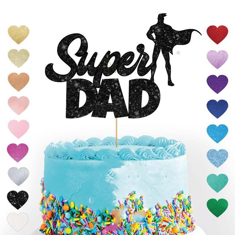 Personalizado Super papá adorno con purpurina para pasteles de la torta personalizada topper padre Día Padre papá fiesta de superhéroes decoraciones