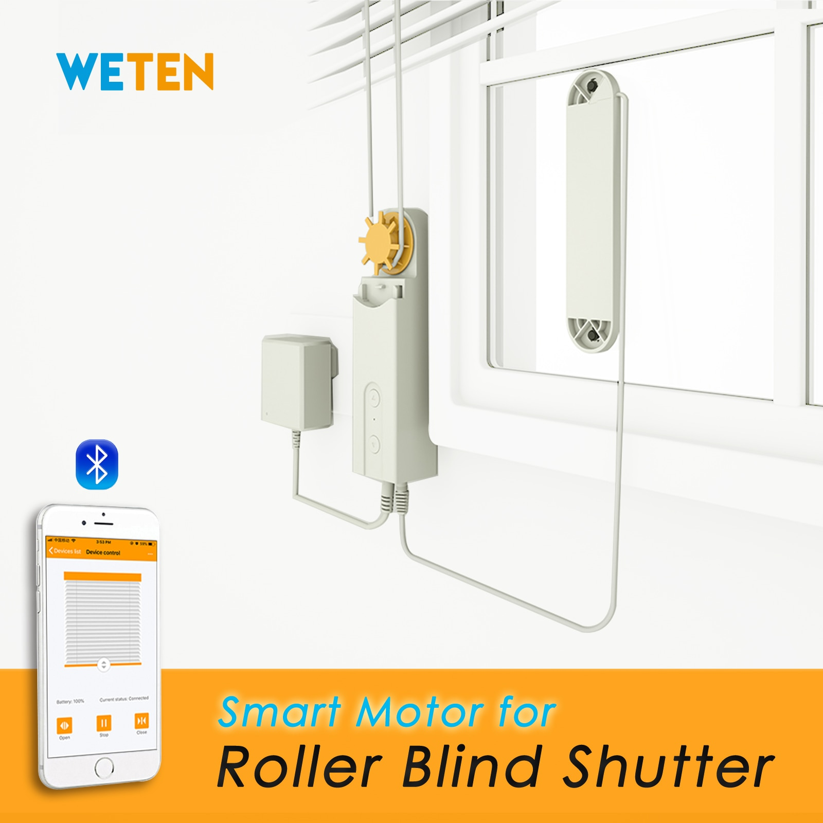 Smart Roller Blinds Shades Shutters Motor for Window Blinds Curtains, Powered By Solar Panel and Charger, Bluetooth APP Control