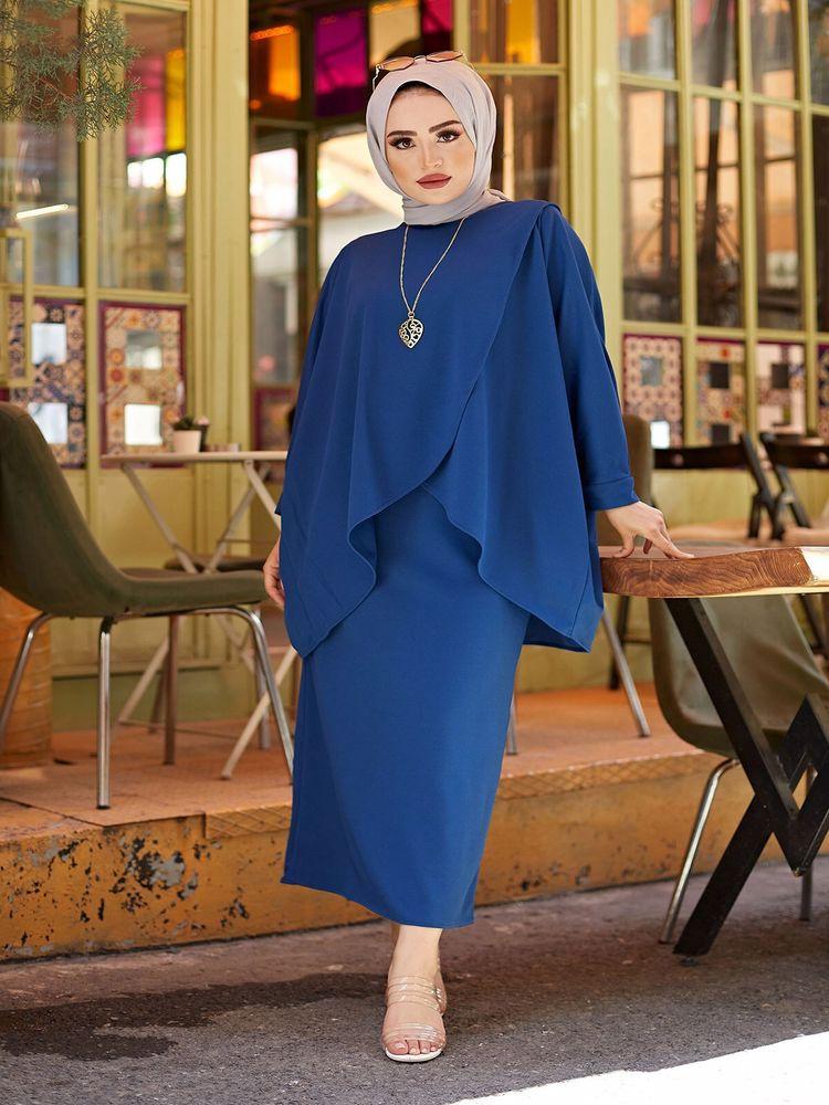 AliExpress - Muslim sets fashion tunic skirt set combination waist elastic Lycra dubai kaftan arabic kaftan dress islamic clothing