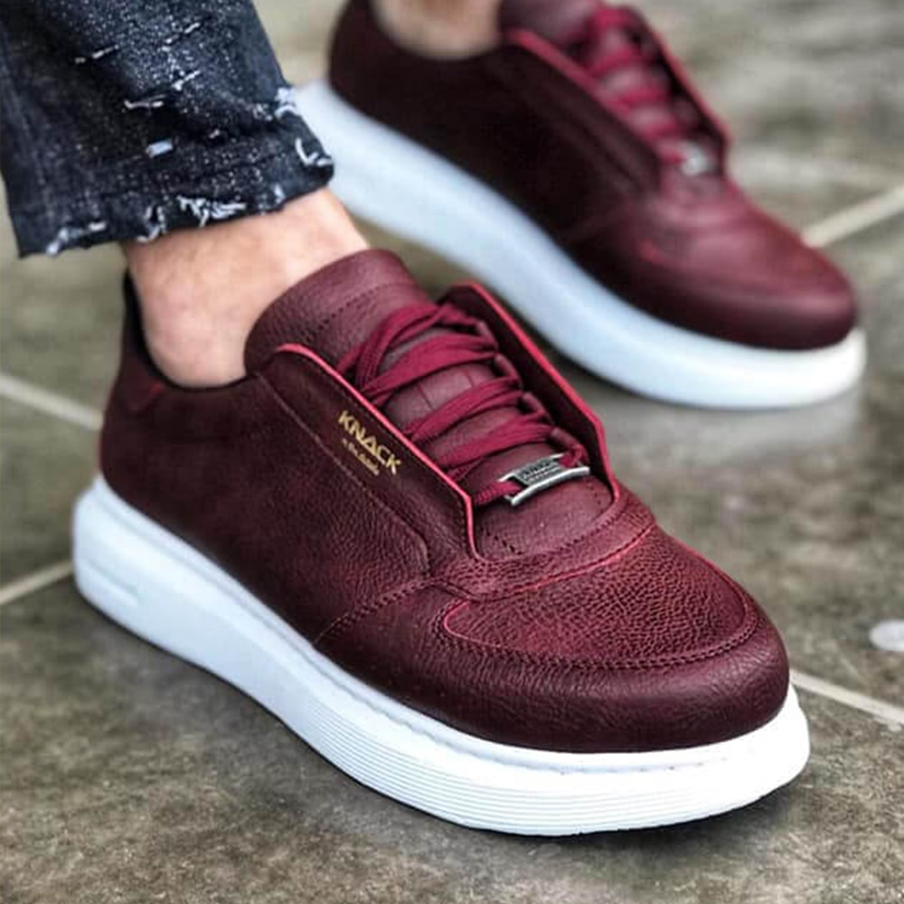 Knack Casual Men's Shoes Burgundy Color (White Sole) Comfortable Stylish Fashion Walking Sneakers High Sole Lace-up Summer Spring Shoes For Men With Free Shipping Shoes Men Original Men Dress Shoes Sport Shoes 039