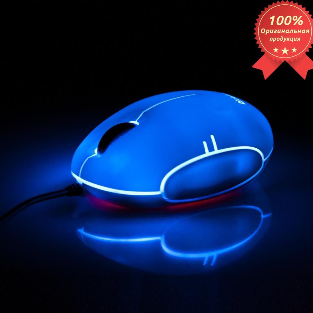 O mouse óptico com fio Defensor Rainbow MS-770L Cromo, USB 2 botões, 1000dpi backlight 5 cores