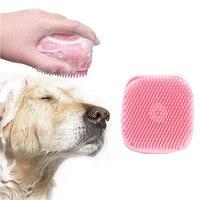 dog bath hair brush pet gentle massage shampoo dispenser soft silicone rubber bristle cat shower grooming bathing tool accessory