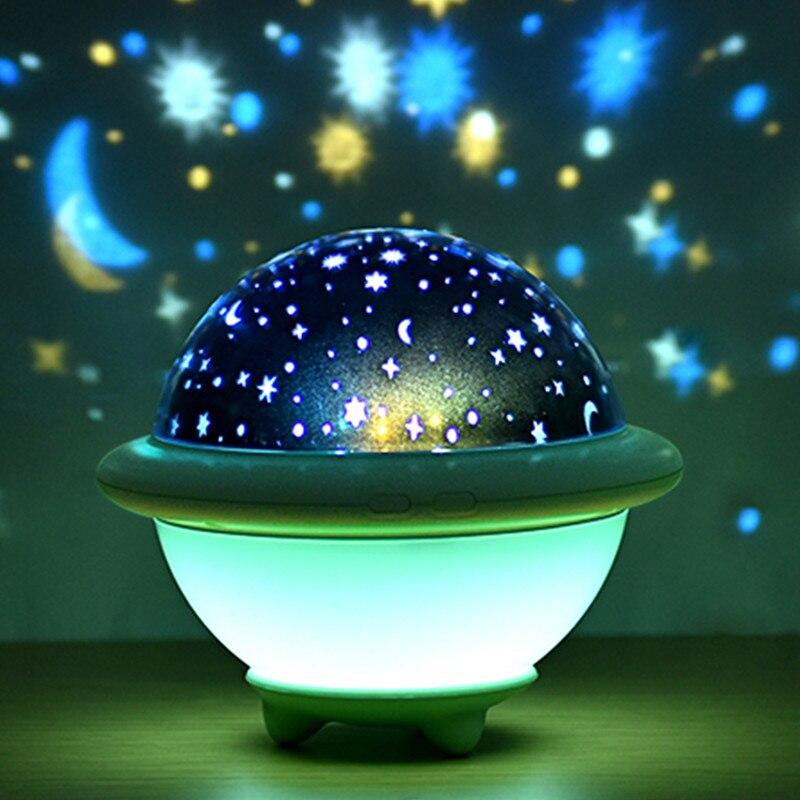 USB ليلة ضوء نجمة السماء العارض Gwiazd LED الإسقاط الحضانة مصباح غرفة نوم بجانب للأطفال الاطفال هدية ديكور المنزل