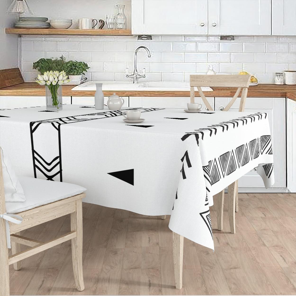 مفرش المائدة غرفة المعيشة المطبخ أبيض أسود العرقية منقوشة مايكرو غطاء من القماش عداء نمط شحن مجاني