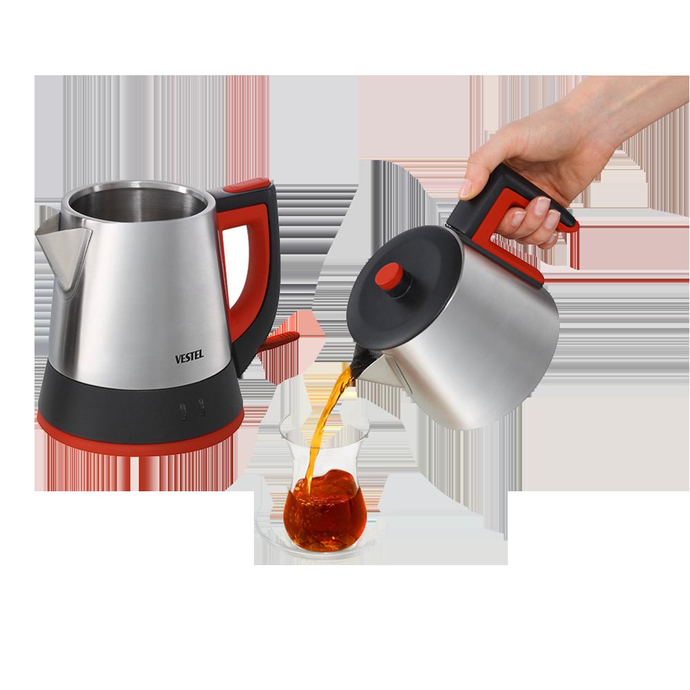 VESTEL الكهربائية التركية ماكينة إعداد الشاي غلاية إبريق 1800 واط سخان مياه الفولاذ غير القابل للصدأ İnfuse للمطبخ المنزل القهوة