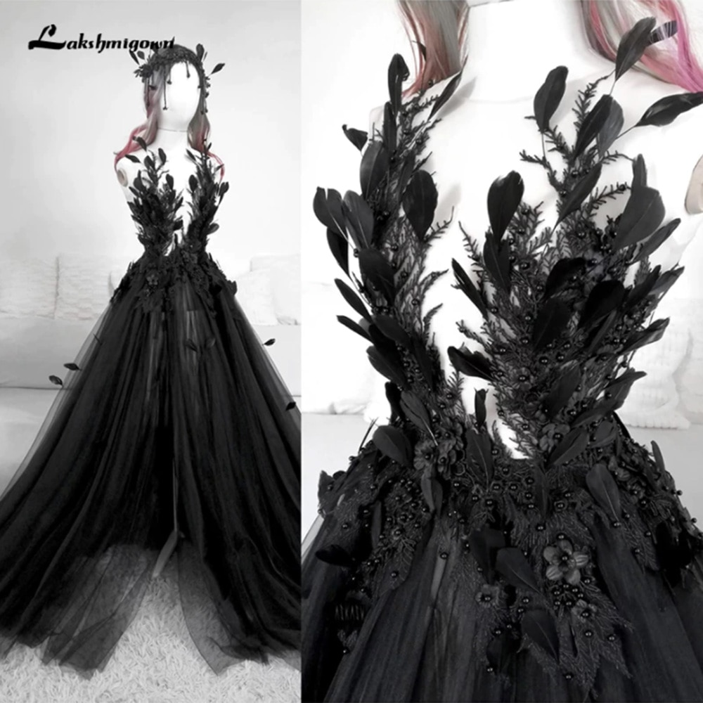 Review Gothic Black Wedding Dresses With Feather Vintage Backless High Side Split Sweep/Brush Train A-Line Tulle Bride Gowns Appliques