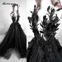 gothic black wedding dresses with feather vintage backless high side split sweepbrush train a line tulle bride gowns appliques