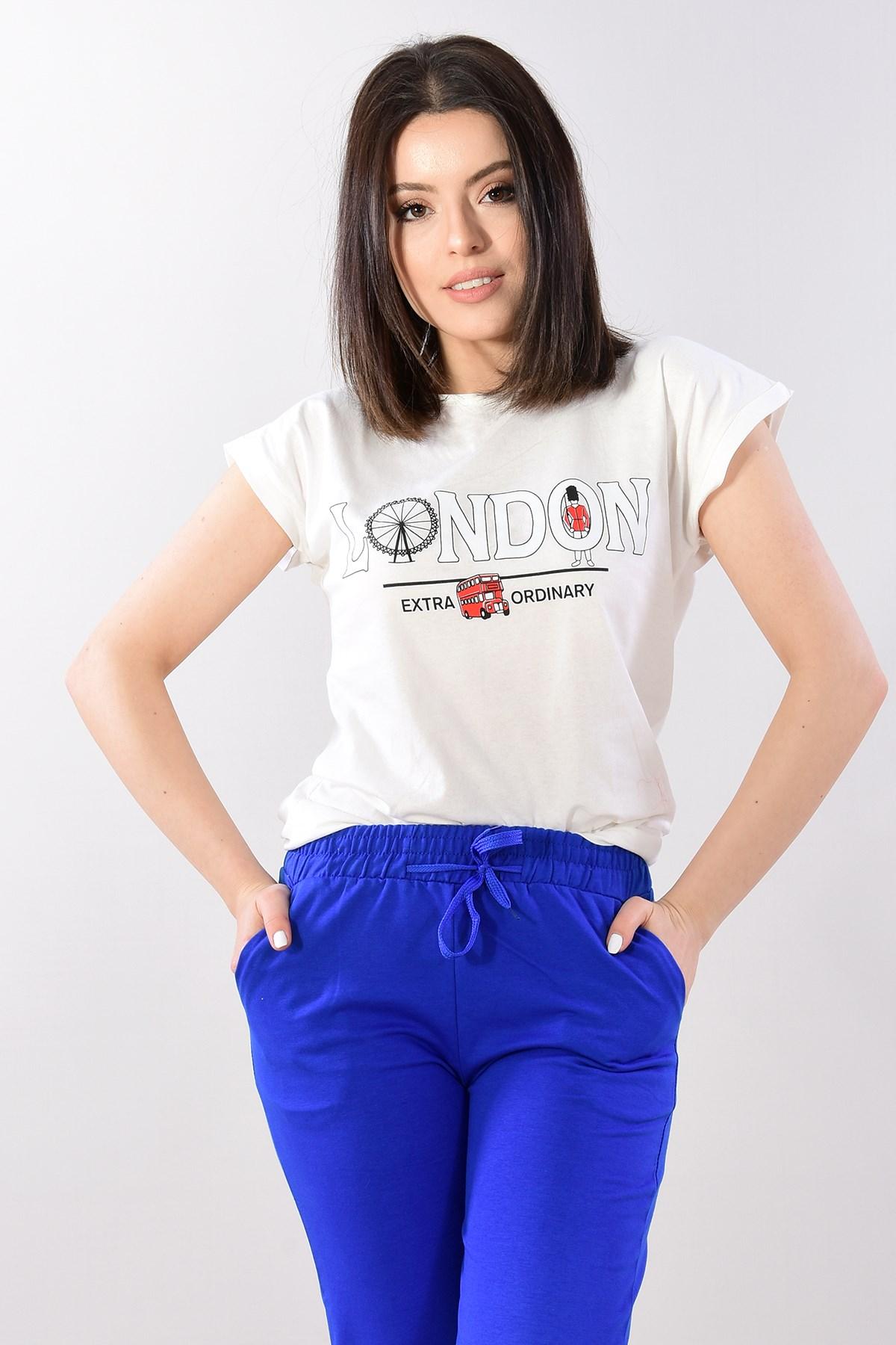 Mujer Fronting Londres escrito Ecru camiseta BC