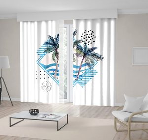 Curtain Sea Waves Tropical Palm Trees Leaves Seagulls Birds and Geometric Shapes Watercolor Artwork Blue Green White
