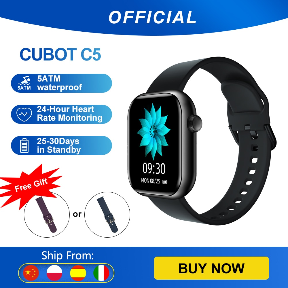 Cubot C5 IP68 Waterproof SmartWatch Heart Rate Calorie Monitor Touch Fitness Tracker Sport Smart Watch for Men Women Android IOS