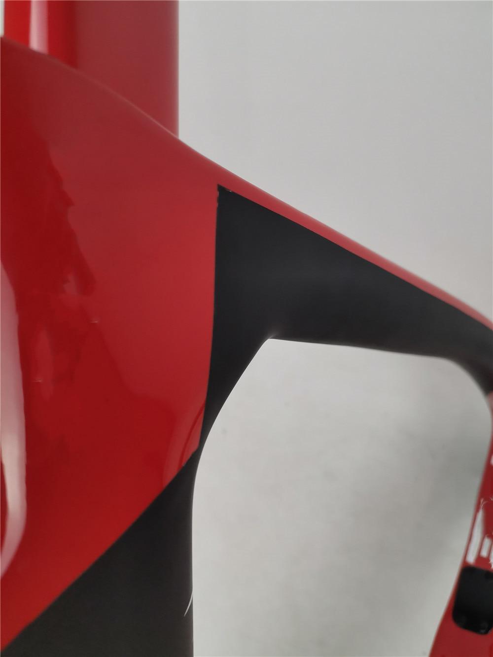 NEW carbon road bike frame disk/rim brake specifications carbon road bicycle frameset 1K surface black matte+red glossy color