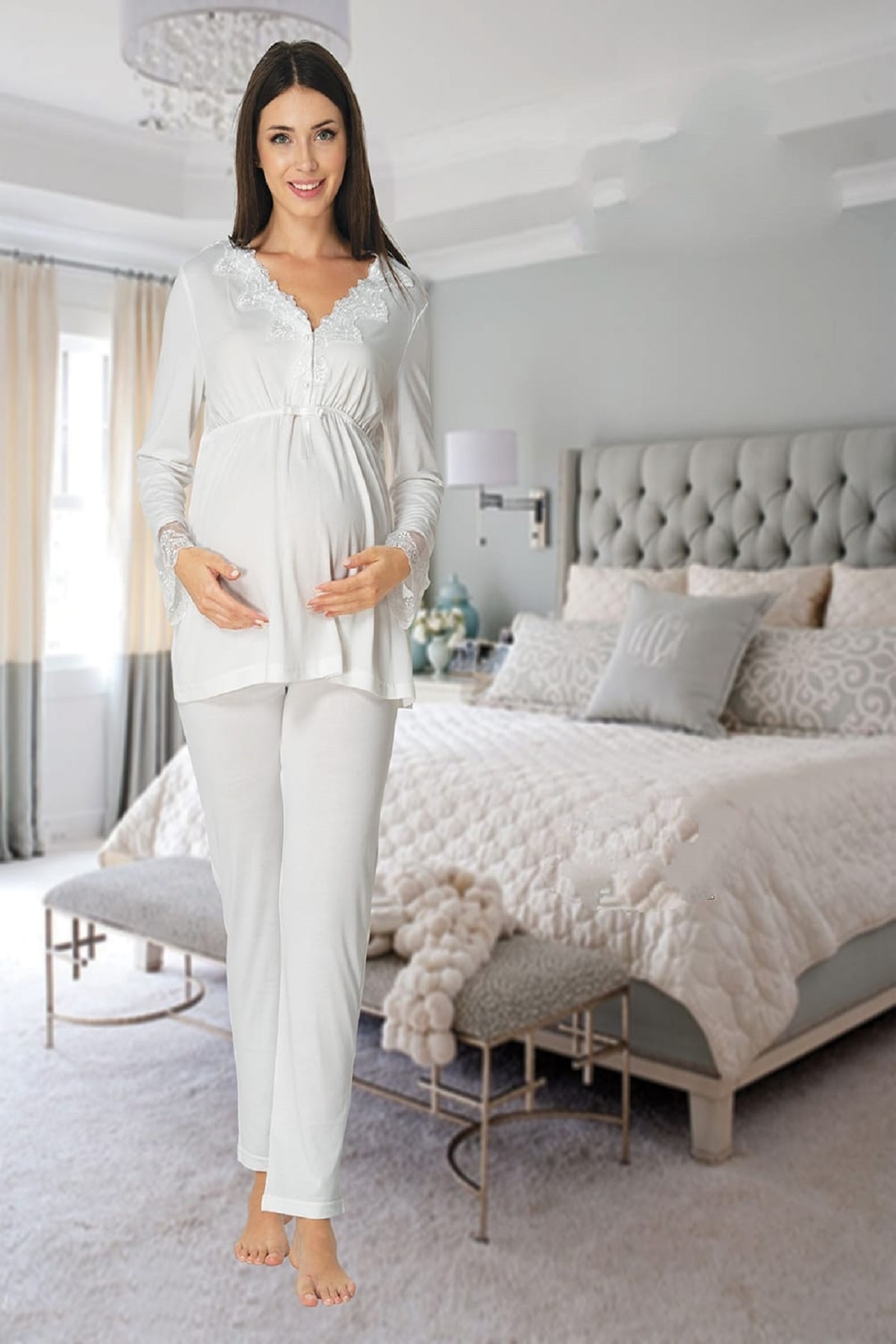 Women's White Long-Sleeve Pajamas Set Nightgown Dressing Gown Puerperal Maternity 4'lü Set enlarge