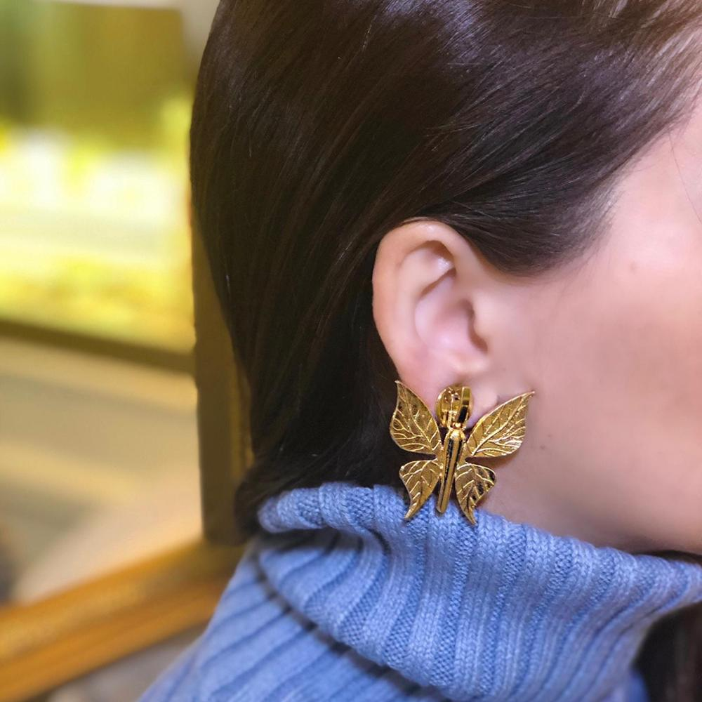 GULCE DERELI, SINGLE EARRING, ONE SIDE, NEW PRODUCT, BUTTERFLY CHARM EARRING, GIFT BOX, GOLD/SILVER PLATED