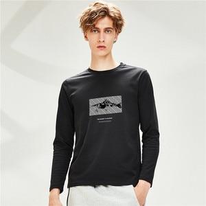 Giordano Men Tshirts Printed Cotton Crewneck Long Sleeve Tee Shirts Durable Soft Camisetas Hombre 91099985