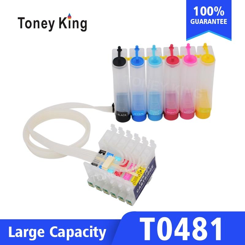 Toney King T0481 Система непрерывной подачи печатных красок комплект для Epson Stylus Photo R200 R220 R300 R300M R320 принтер с чипом сброса
