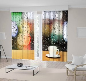 Curtain Coffee Cup on a Wooden Table in front of the Window with Raindrops City Rainy Morning Scenery White Black Green