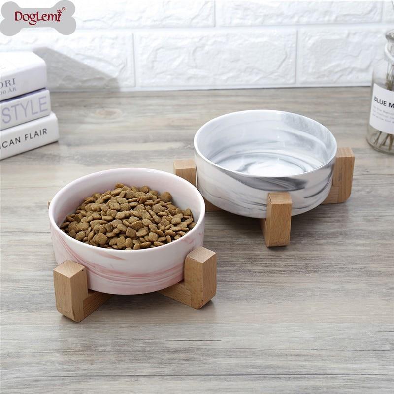 Dog Feeders Ceramics Dog Bowls Wooden Rack Ceramic Single Bowl Lovely Pet Food Water Drink Dishes Feeder