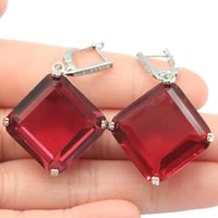45x29mm princess cut square big gemstone 23g created pink tourmaline ladies daily wear silver earrings