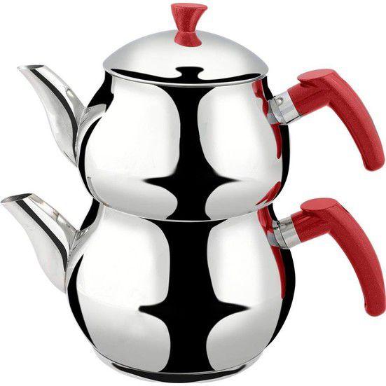 إبريق شاي دائري للتخييم من الفولاذ المقاوم للصدأ, عالي الجودة ، مقاوم للحرارة ، بمقبض أحمر ، غلاية للنزهات والسفر