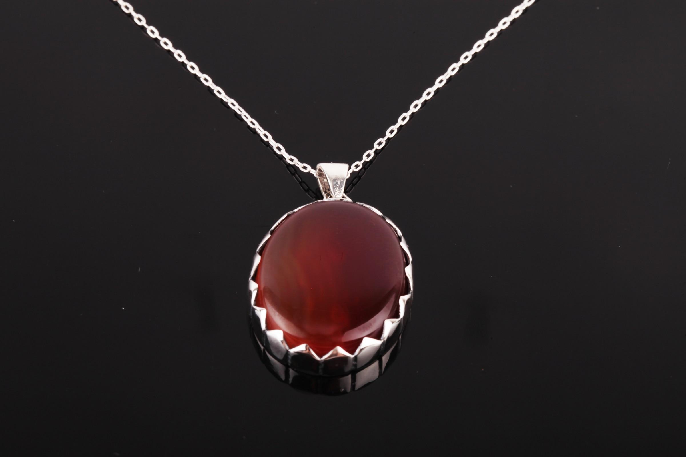 أم الولايات المتحدة مجوهرات اليمن حجر العقيق الكريم 925 قلادة فضية الاسترليني