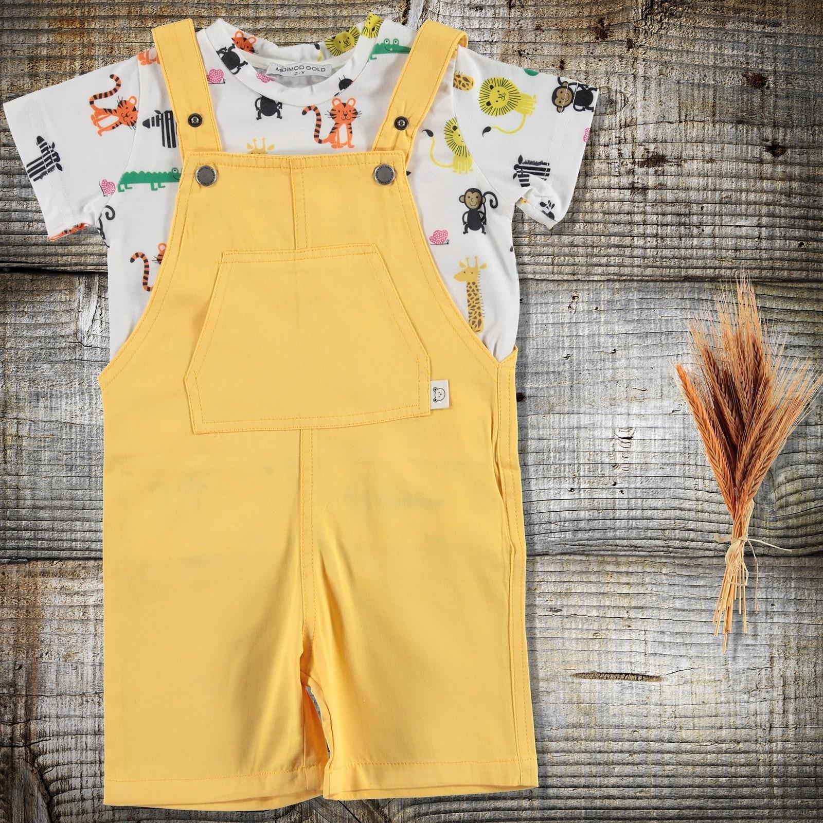 ebebek Midimod Summer Baby Boy Alligator T-shirt Dungarees Set