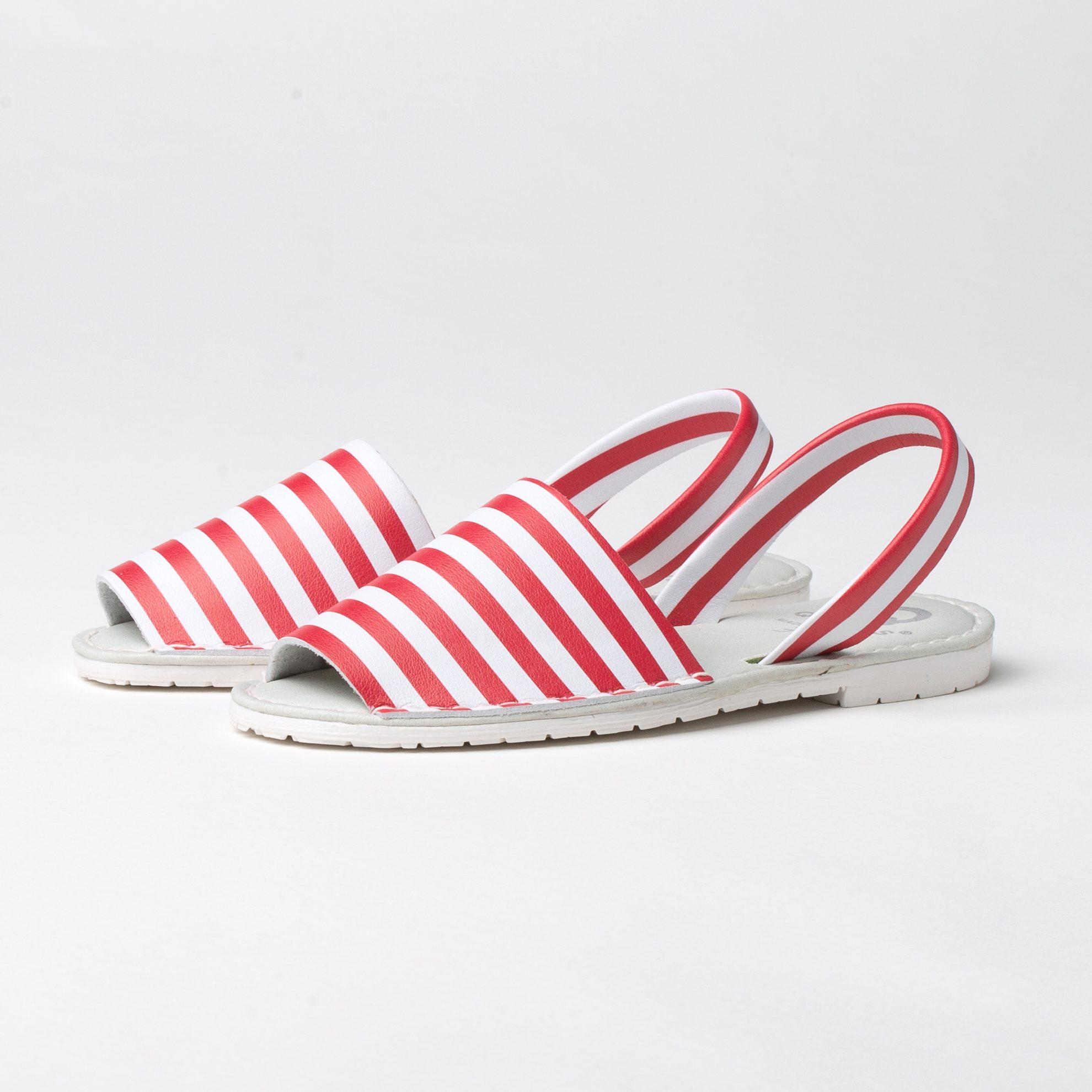 Menorquina Mujer Marsella Color Rojo   Sandalias de mujer Talla 36-41  zapatos planos mujer sandalia verano