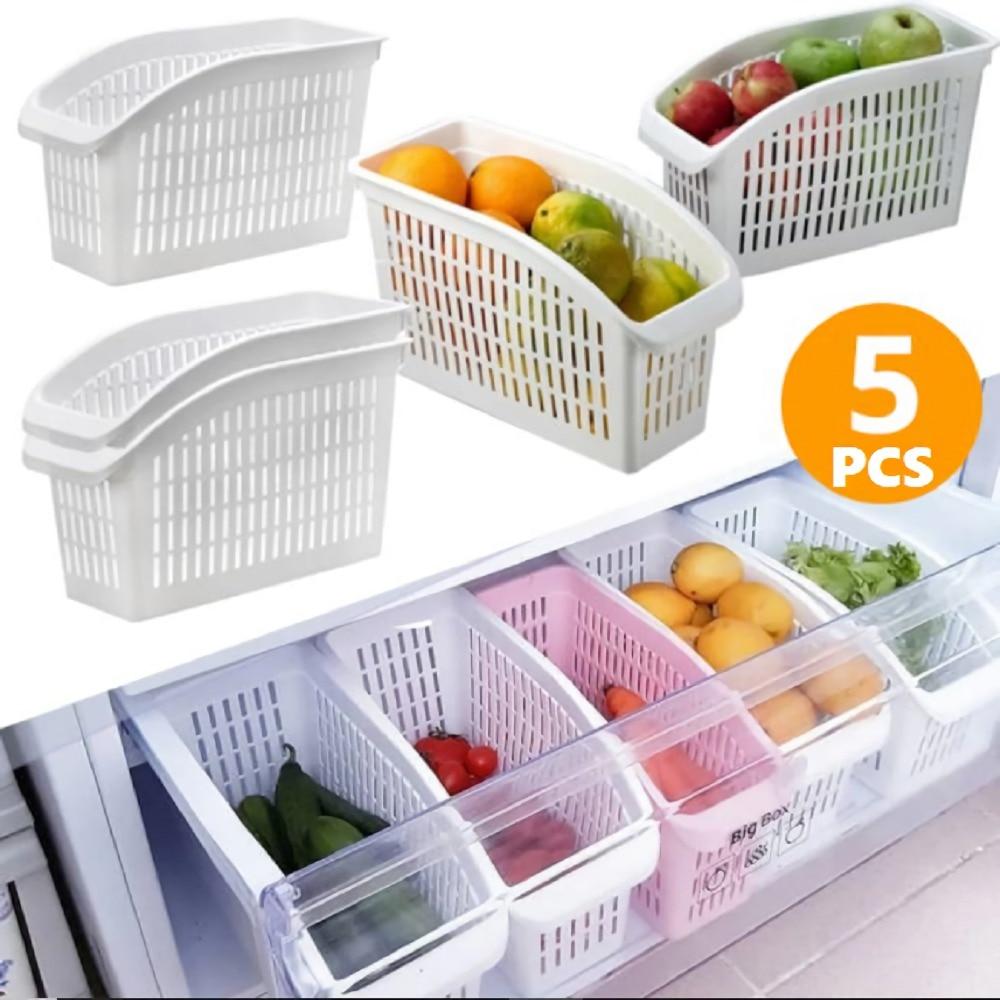 Kitchen Refrigerator Organizer Basket Container Drawner Adjustable Storage Box Retractable Drawer Space Saver Slide Fridge Rack