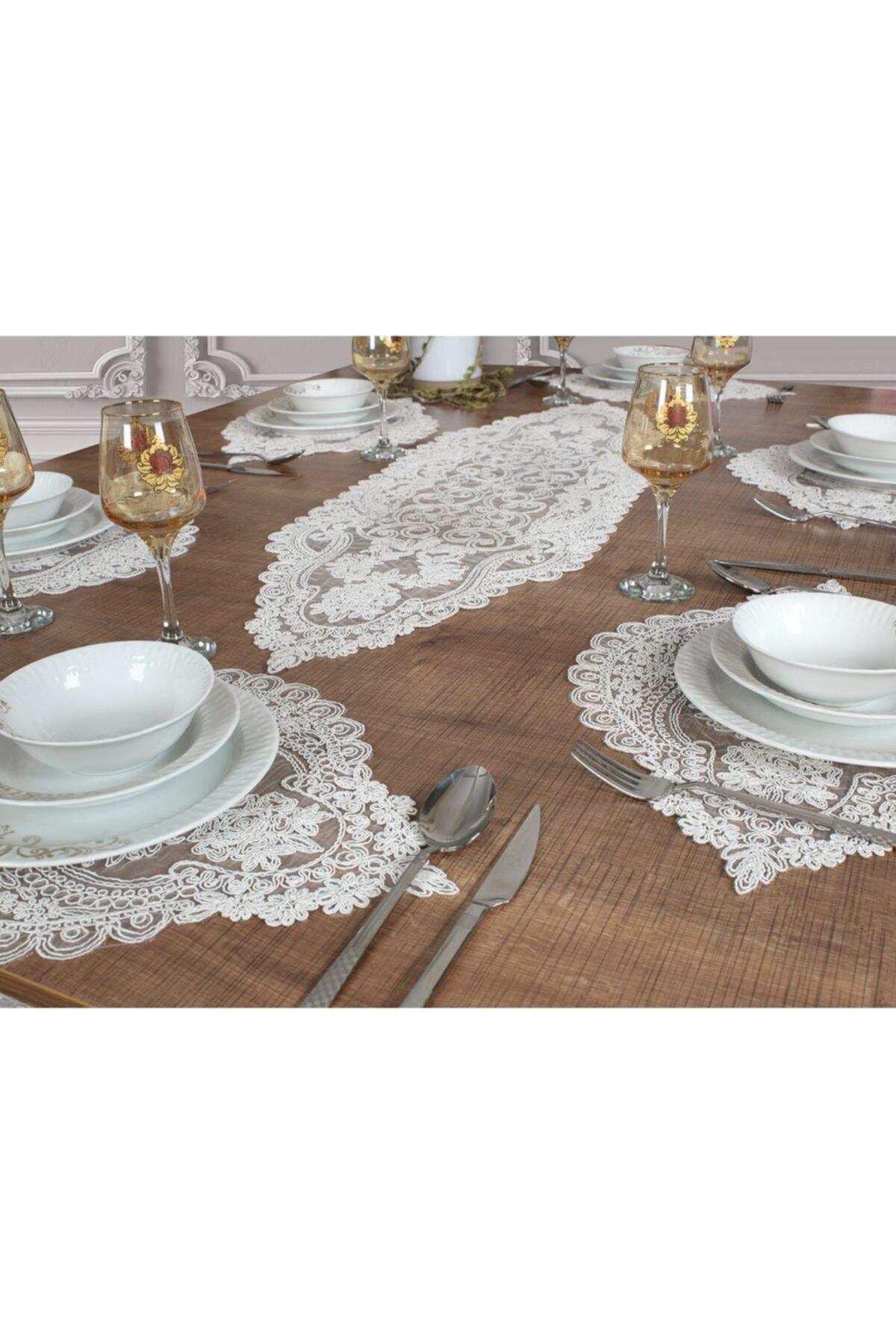 Supla-مفرش طاولة ، طقم من 6 ، 7 قطع ، أبيض فيفين ، حفلة خاصة ، دانتيل ، تصميم أنيق ، غرفة طعام