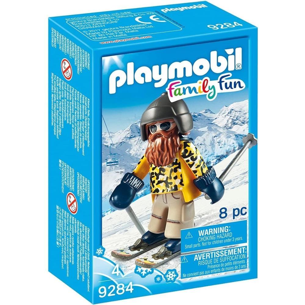 Esquiador con snowblades figura PLAYMOBIL 9284 con guantes casco y bastones