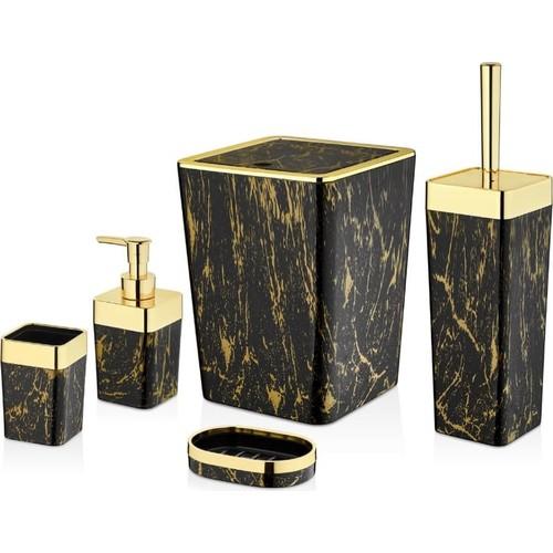 OceanLand Luxury Bathroom Set Patterned Set of 5  Acrylic Home Soap Dispenser Soap dish Toothbrush Holder Bucket Toilet Brush enlarge