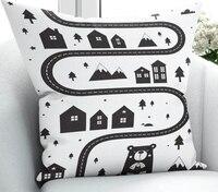 Else Black White Car Road Game City 3D Print Microfiber Throw Pillow Case Cushion Covers Square Hidden Zipper 45x45cm