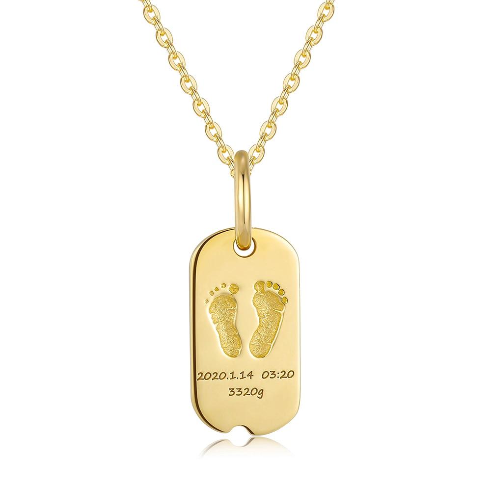 18K Gold Baby Custom Made Rectangle Handprints Footprint Necklace