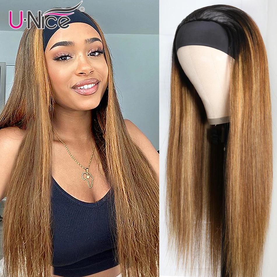 Unice Hair Bone Straight Hair Highlight Headband Wig Human Hair Blonde Brown Straight Human Hair for African American Women