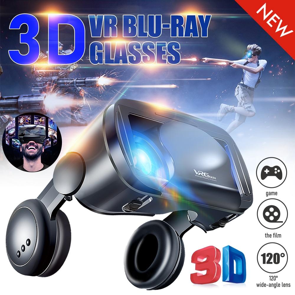 VRG Pro 3D نظارة الواقع الافتراضي الجديدة 2 في 1 ، شاشة كاملة ، متينة ، مع سماعة رأس كبيرة للهواتف الذكية من 5 إلى 7 بوصات