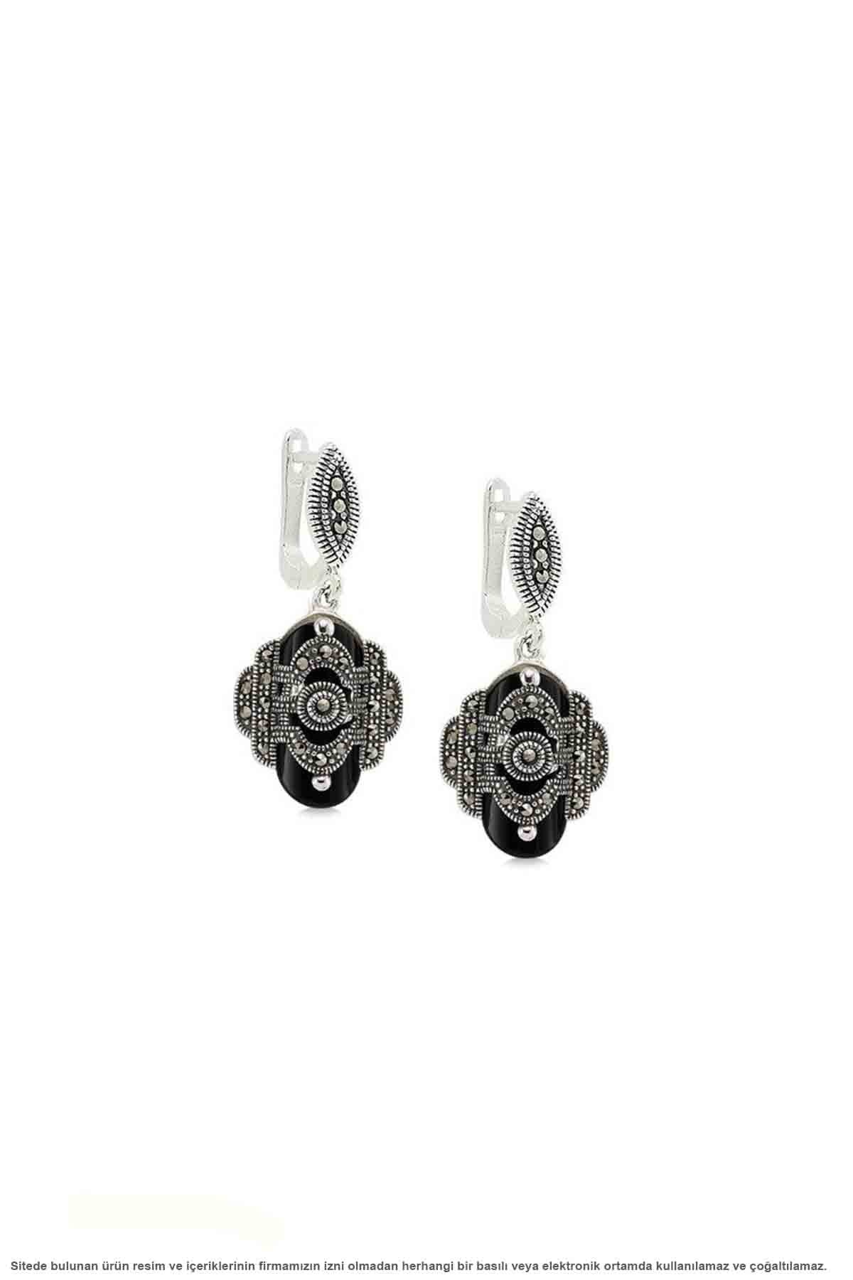 Prata esterlina onyx & marcasite sterling triple conjunto de jóias