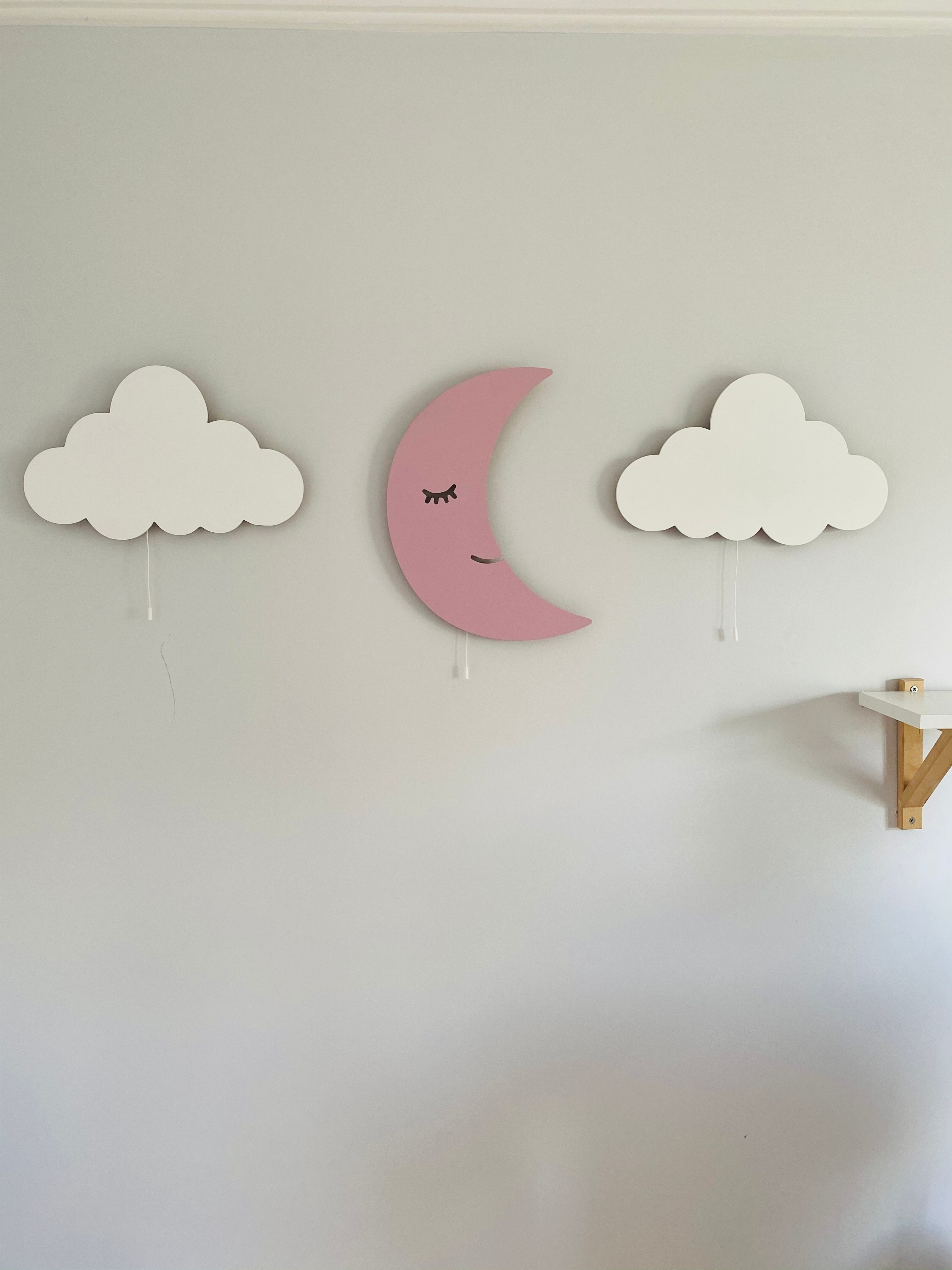 Set of 3- Wooden Cloud Lamp, Moon Night Light, Gift to Granddaughter, Montessori Approach Decor, Boy Room Decor, Baby Gift enlarge